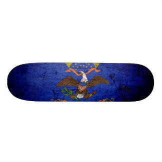 Black Grunge North Dakota State Flag Skateboard