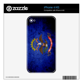 Black Grunge North Dakota State Flag Skins For The iPhone 4S