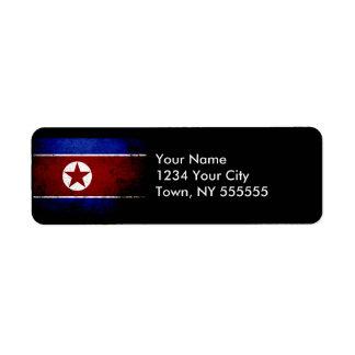 Black Grunge North Korea Flag 1 Label