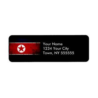 Black Grunge North Korea Flag 2 Label