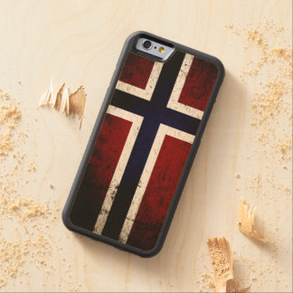Black Grunge Norway Flag Carved® Maple iPhone 6 Bumper