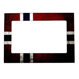 Black Grunge Norway Flag Magnetic Picture Frame
