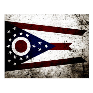 Black Grunge Ohio State Flag Postcard