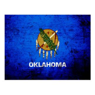 Black Grunge Oklahoma State Flag Postcard