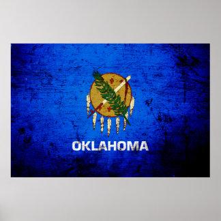 Black Grunge Oklahoma State Flag Poster