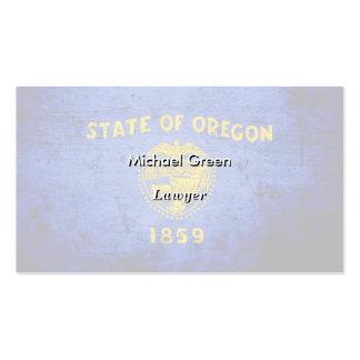 Black Grunge Oregon State Flag Business Cards
