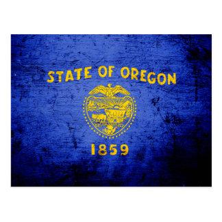Black Grunge Oregon State Flag Post Card