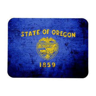 Black Grunge Oregon State Flag Rectangular Photo Magnet