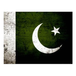 Black Grunge Pakistan Flag Postcard
