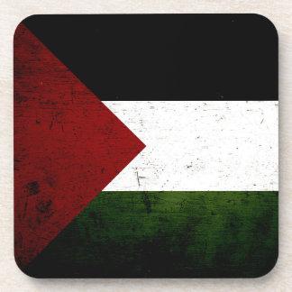Black Grunge Palestine Flag Beverage Coaster