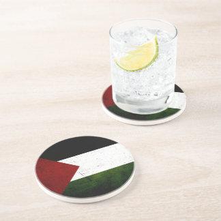 Black Grunge Palestine Flag Coaster