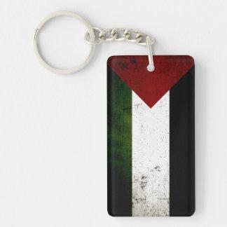 Black Grunge Palestine Flag Double-Sided Rectangular Acrylic Keychain