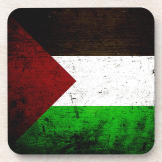 Black Grunge Palestine Flag Drink Coaster