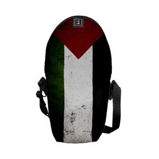 Black Grunge Palestine Flag Messenger Bags