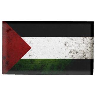 Black Grunge Palestine Flag Place Card Holder