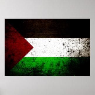 Black Grunge Palestine Flag Poster