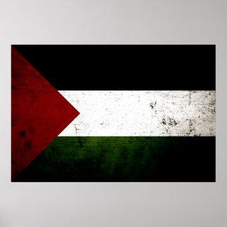 Black Grunge Palestine Flag Posters