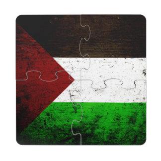 Black Grunge Palestine Flag Puzzle Coaster