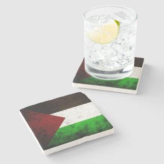 Black Grunge Palestine Flag Stone Coaster