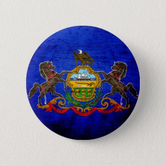 Black Grunge Pennsylvania State Flag Button