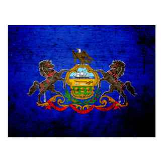 Black Grunge Pennsylvania State Flag Postcard