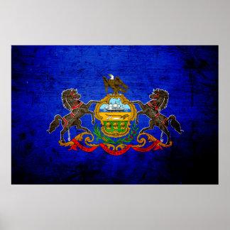 Black Grunge Pennsylvania State Flag Poster