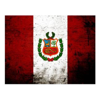 Black Grunge Peru Flag Postcard