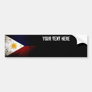 Black Grunge Philippines Flag Bumper Sticker
