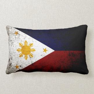 Black Grunge Philippines Flag Lumbar Pillow