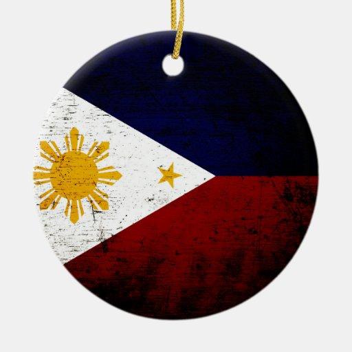 Black Grunge Philippines Flag Christmas Tree Ornaments