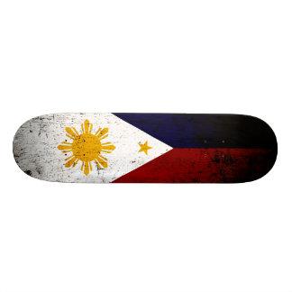 Black Grunge Philippines Flag Skateboard Deck