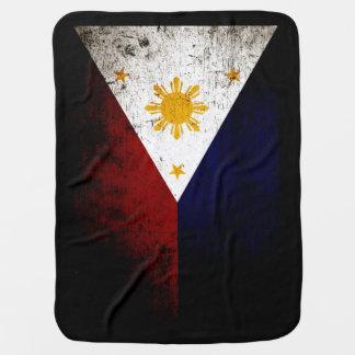 Black Grunge Philippines Flag Swaddle Blanket