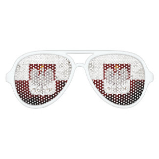 Black Grunge Poland Flag Aviator Sunglasses