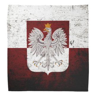 Black Grunge Poland Flag Bandana