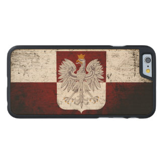 Black Grunge Poland Flag Carved® Maple iPhone 6 Case