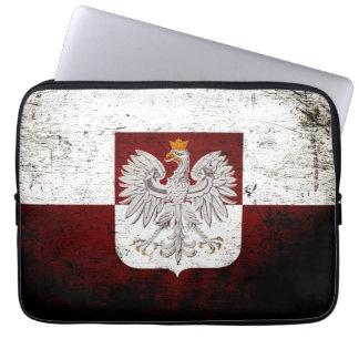 Black Grunge Poland Flag Computer Sleeve