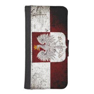 Black Grunge Poland Flag iPhone SE/5/5s Wallet Case