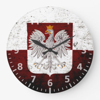 Black Grunge Poland Flag Large Clock