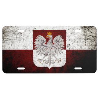 Black Grunge Poland Flag License Plate