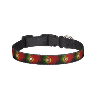 Black Grunge Portugal Flag Pet Collar