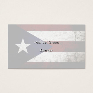 Black Grunge Puerto Rico Flag Business Card