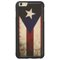 Black Grunge Puerto Rico Flag Carved Maple iPhone 6 Plus Bumper Case