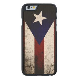 Black Grunge Puerto Rico Flag Carved® Maple iPhone 6 Slim Case
