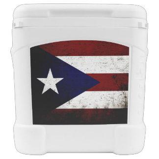 Black Grunge Puerto Rico Flag Cooler