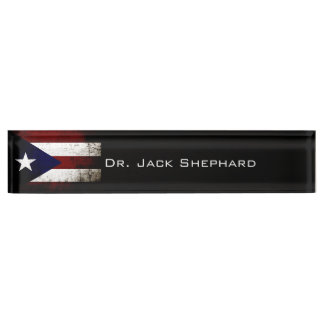 Black Grunge Puerto Rico Flag Name Plate