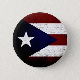 Black Grunge Puerto Rico Flag Pinback Button