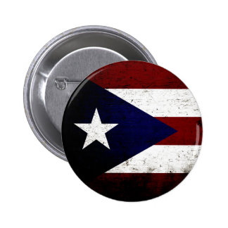 Black Grunge Puerto Rico Flag Pinback Button