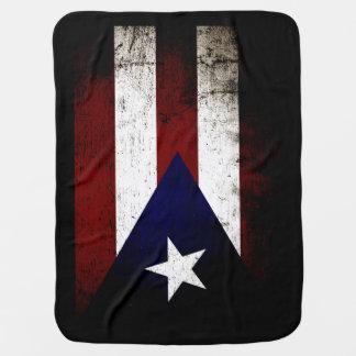 Black Grunge Puerto Rico Flag Receiving Blanket