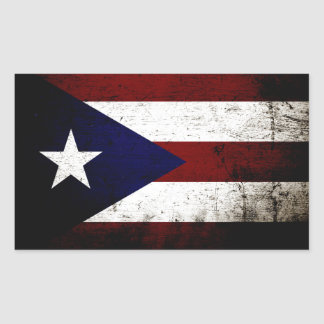 Black Grunge Puerto Rico Flag Rectangular Sticker