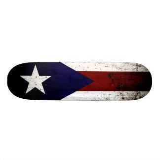 Black Grunge Puerto Rico Flag Skateboard Deck